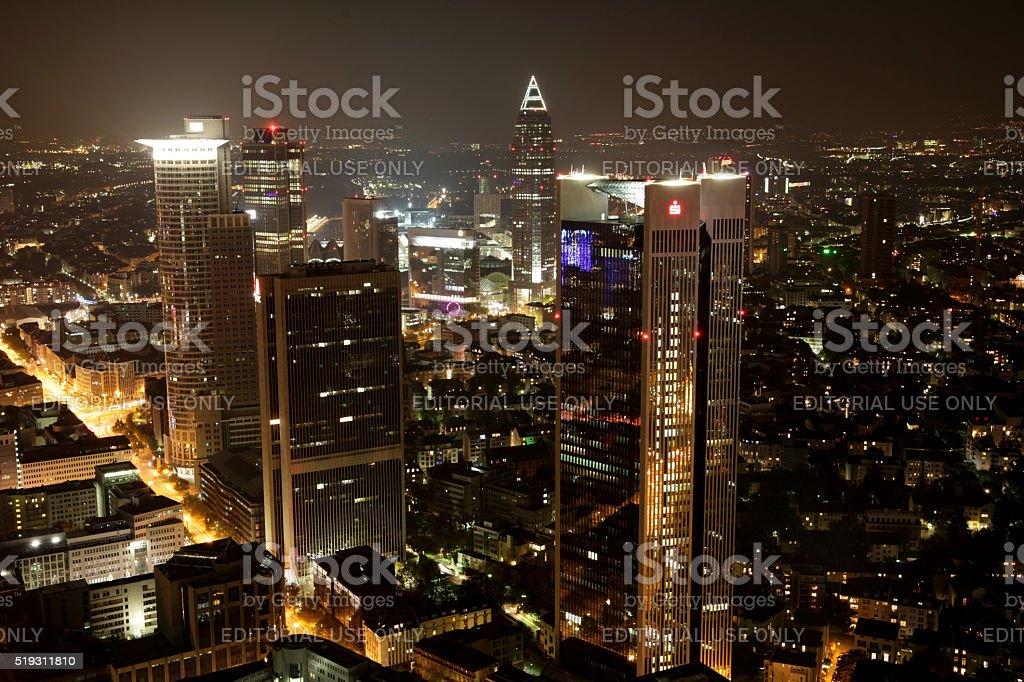 Frankfurt financial district at night stock photo
