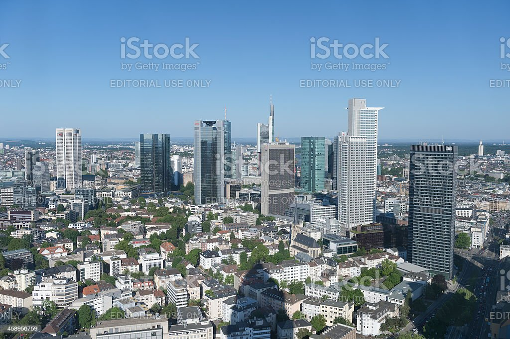 Frankfurt financial district skyline, aerial view stock photo