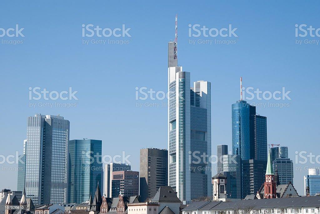 Frankfurt financial district skyline, blue sky, copy space stock photo