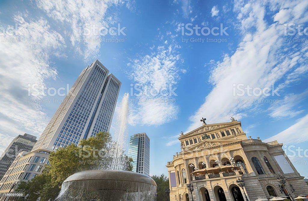 Frankfurt, Germany, Old Opera House, Skyscrapers stock photo