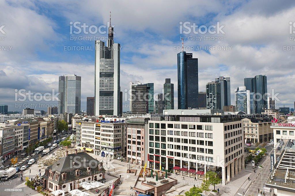 Frankfurt Hauptwache plaza Zeil shopping street downtown skyscrapers Germany stock photo