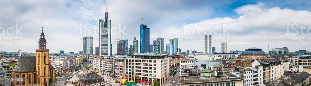 Frankfurt Hauptwache Zeil shopping street financial skyscrapers banks panorama Germany stock photo