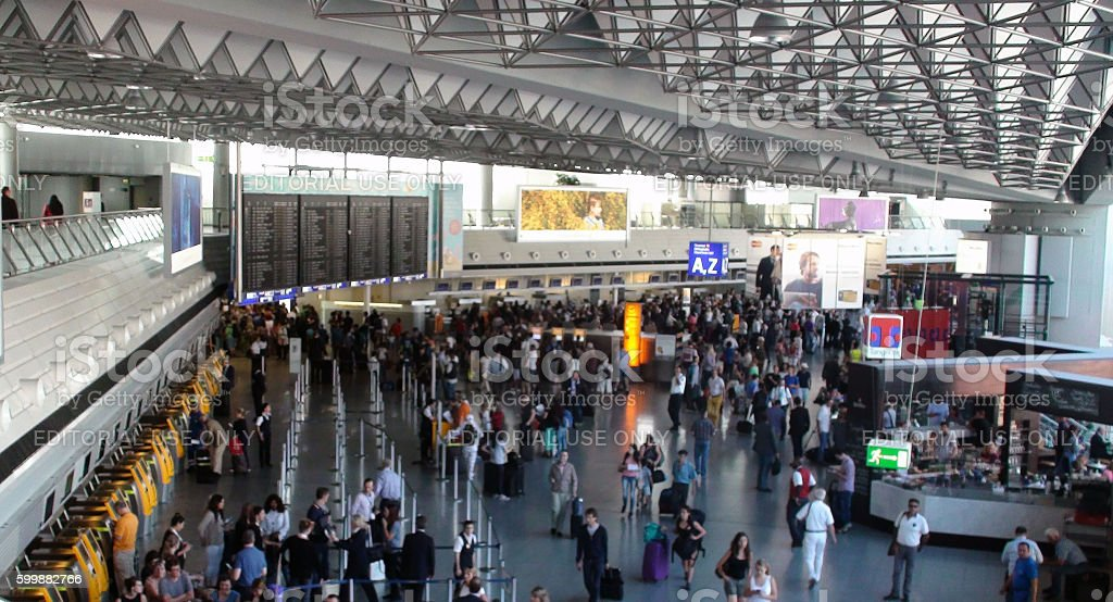 Frankfurt International Airport And Travellers In Germany Europe stock photo