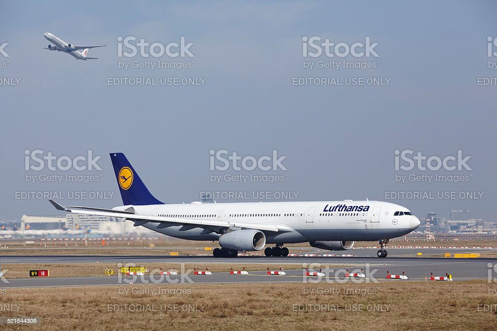 Frankfurt International Airport - Lufthansa Airbus A330 takes off stock photo