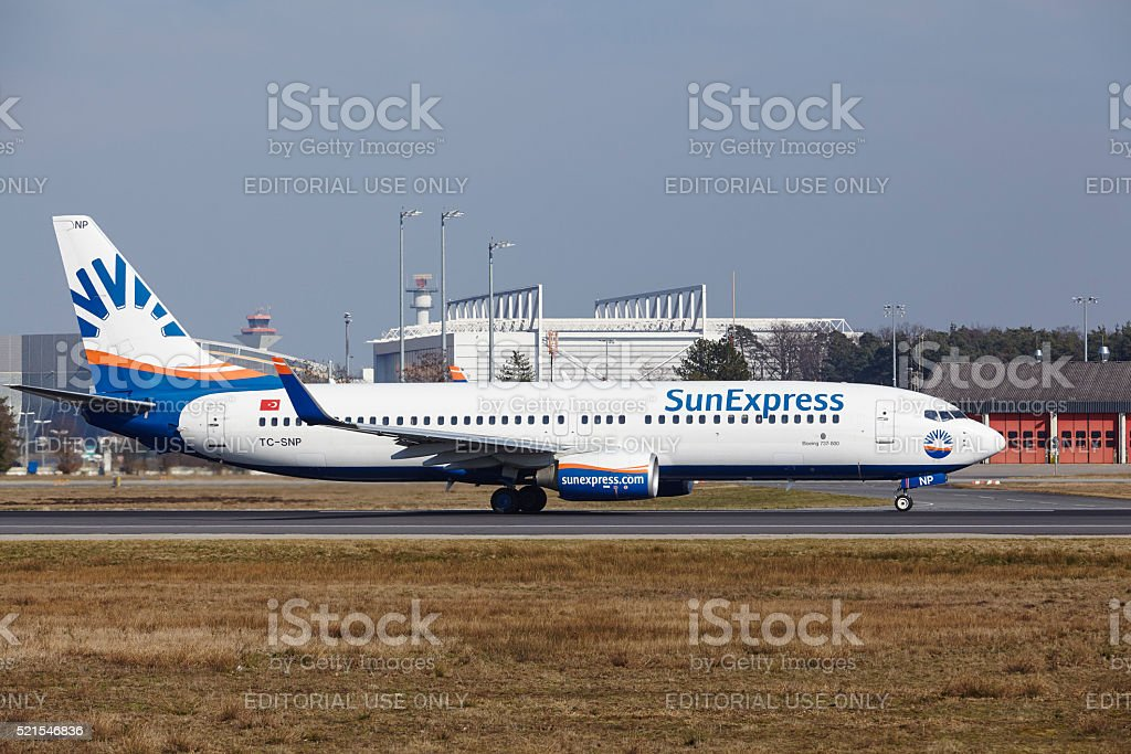Frankfurt International Airport - SunExpress Boeing 737 takes off stock photo
