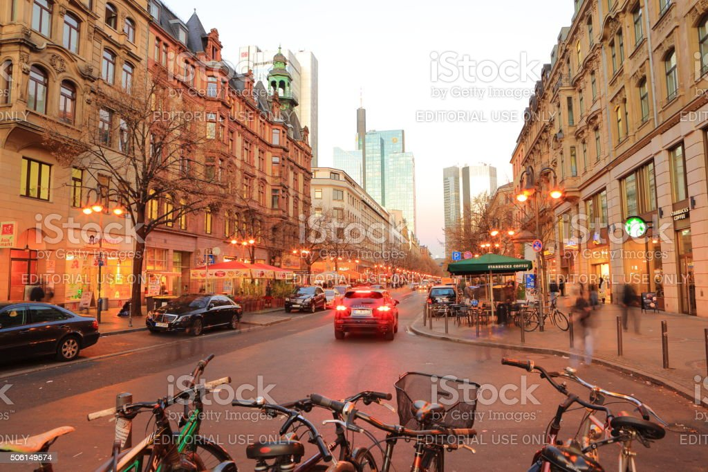 Frankfurt Kaiserstrasse from West to East stock photo