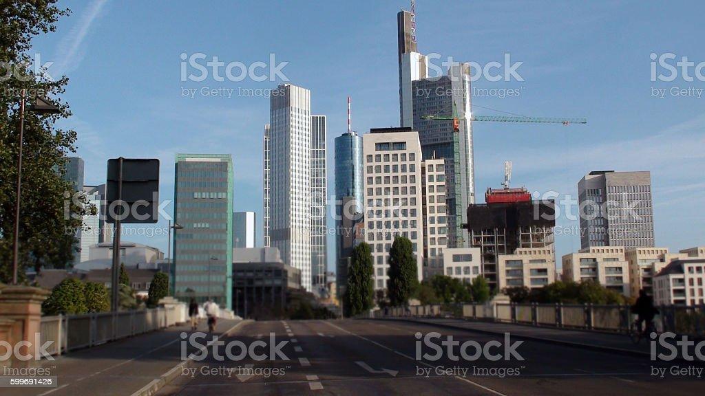 Frankfurt Main Road And Tall Office Buildings In Germany Europe stock photo
