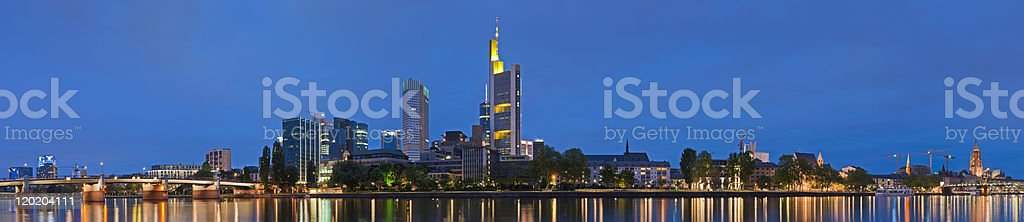 Frankfurt neon night cityscape spires skyscrapers illuminated super panorama Germany royalty-free stock photo