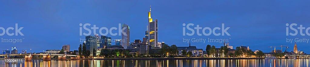 Frankfurt neon night cityscape spires skyscrapers illuminated super panorama Germany stock photo