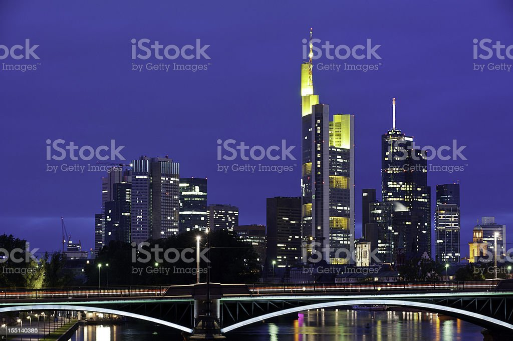 Frankfurt neon night skyscrapers illuminated River Main Germany royalty-free stock photo