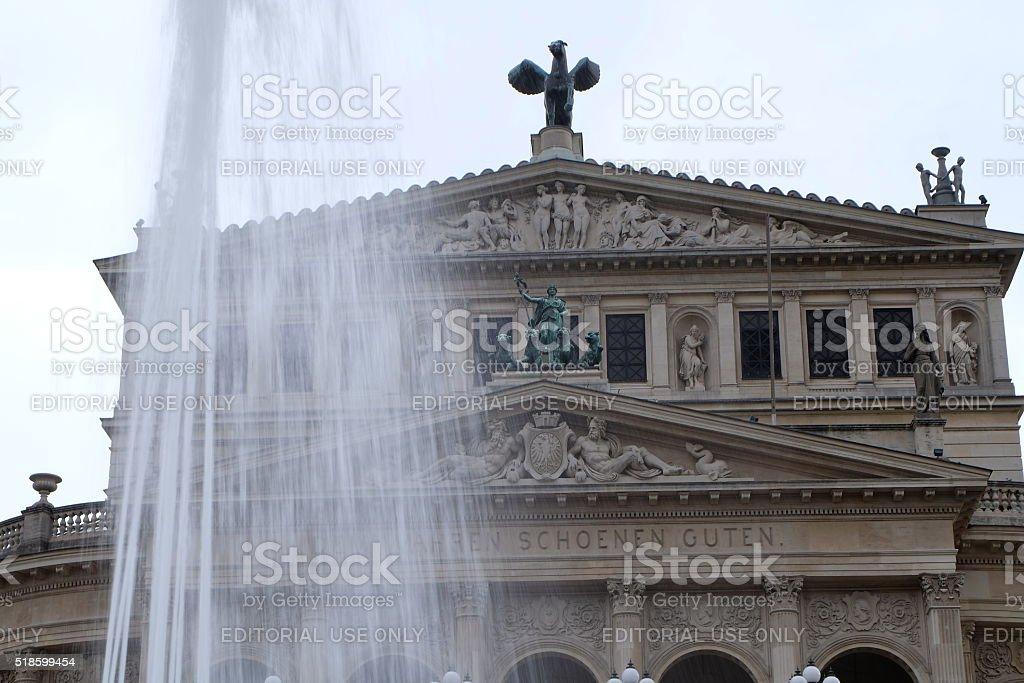 Frankfurt Opera House With Fountain stock photo