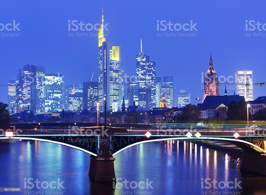 Frankfurt Panorama at Night, Germany stock photo