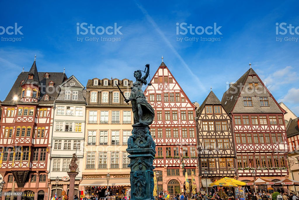 Frankfurt R?mer and Statue of Justice stock photo