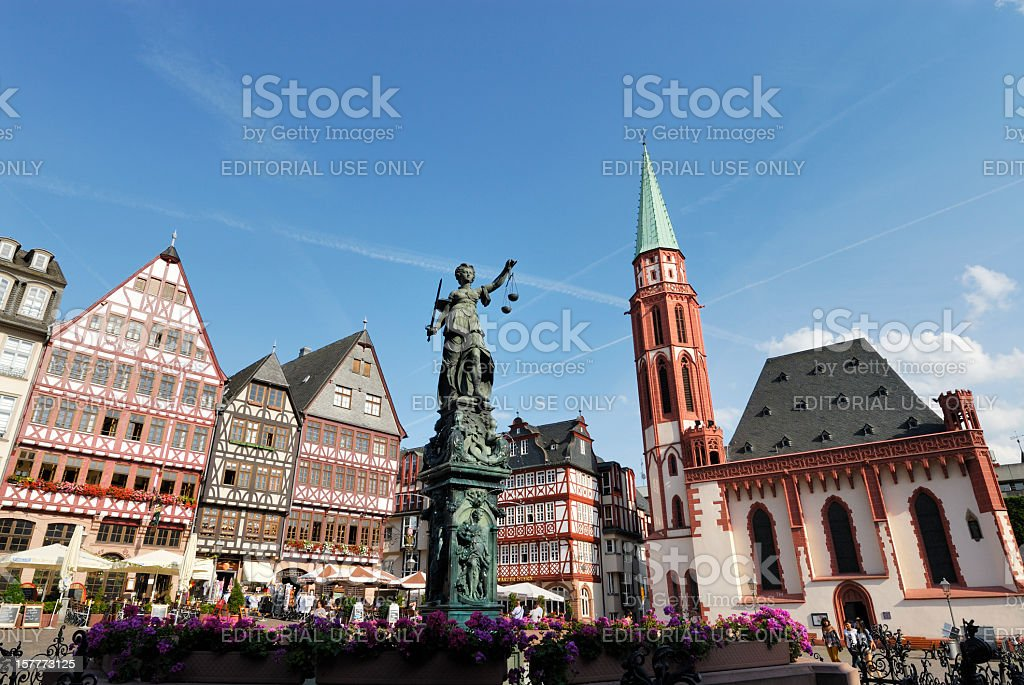 Frankfurt Roemer Square stock photo