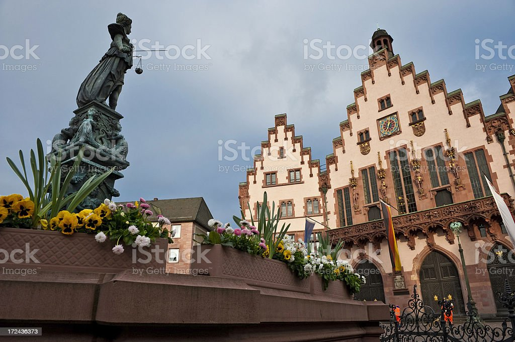 Frankfurt Romer City Hall historic square Gerechtigkeitsbrunnen stock photo