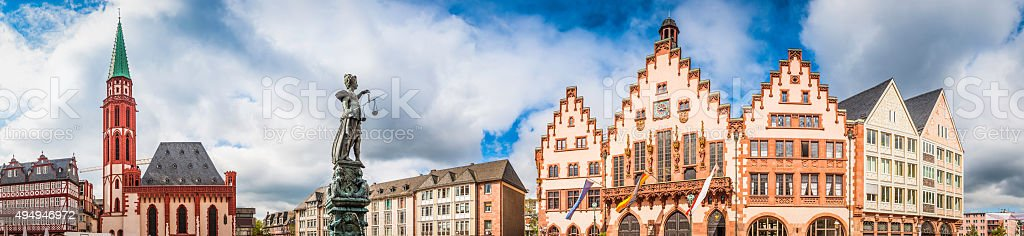 Frankfurt Romerberg medieval square iconic historic landmarks panorama Germany stock photo