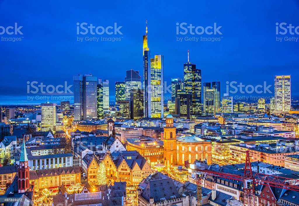 Frankfurt Skyline at Christmas Season stock photo