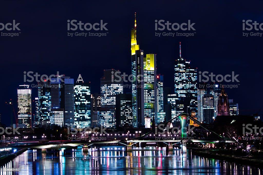 Frankfurt Skyline at Night stock photo