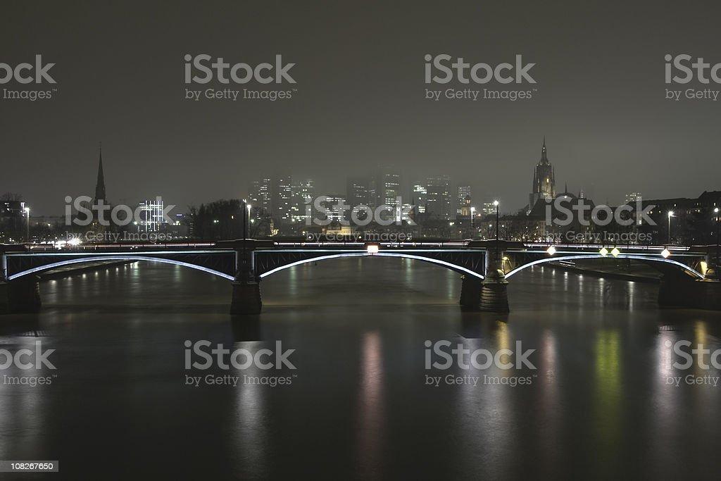 Frankfurt skyline hidden in fog, copy space, HDR stock photo