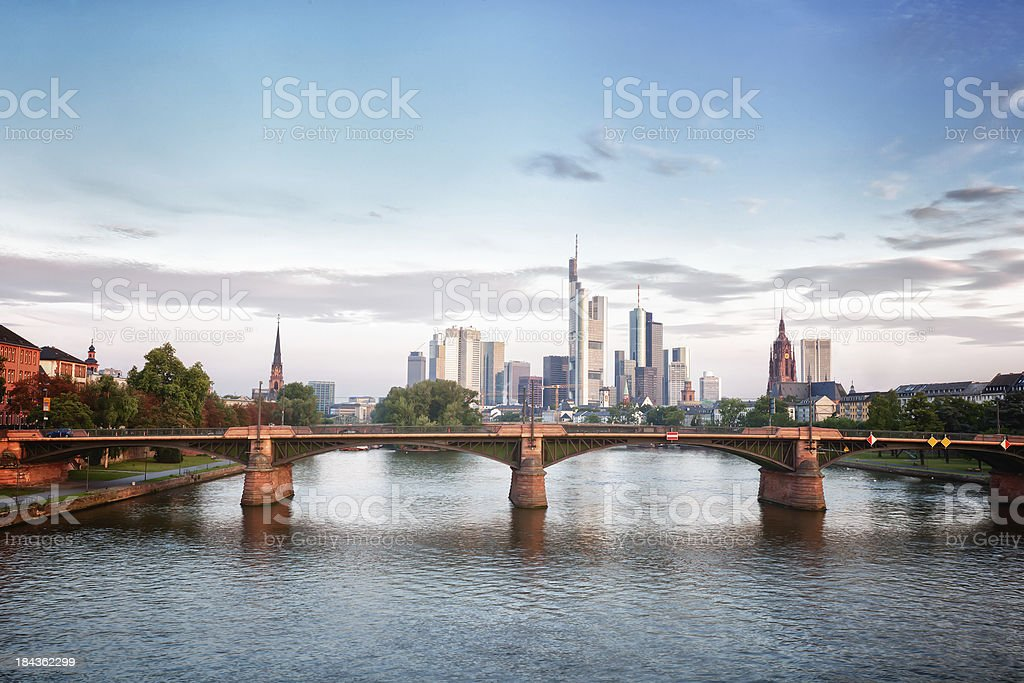 Frankfurt Skyline in the morning light stock photo