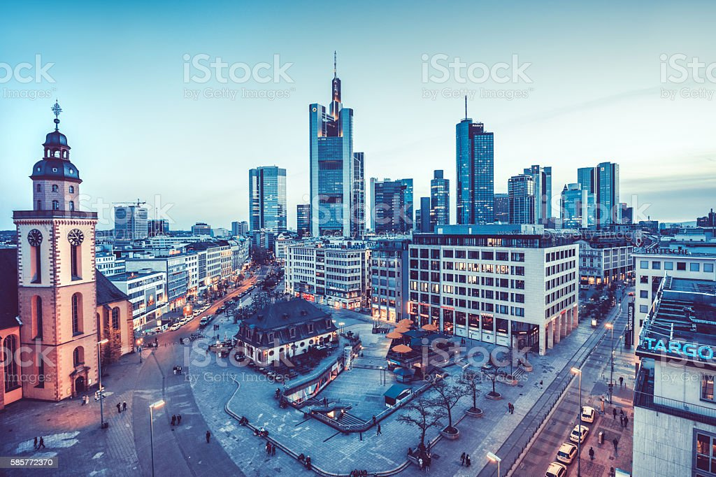 Frankfurt Skyline with St. Catherines Church, Hauptwache and financial district stock photo