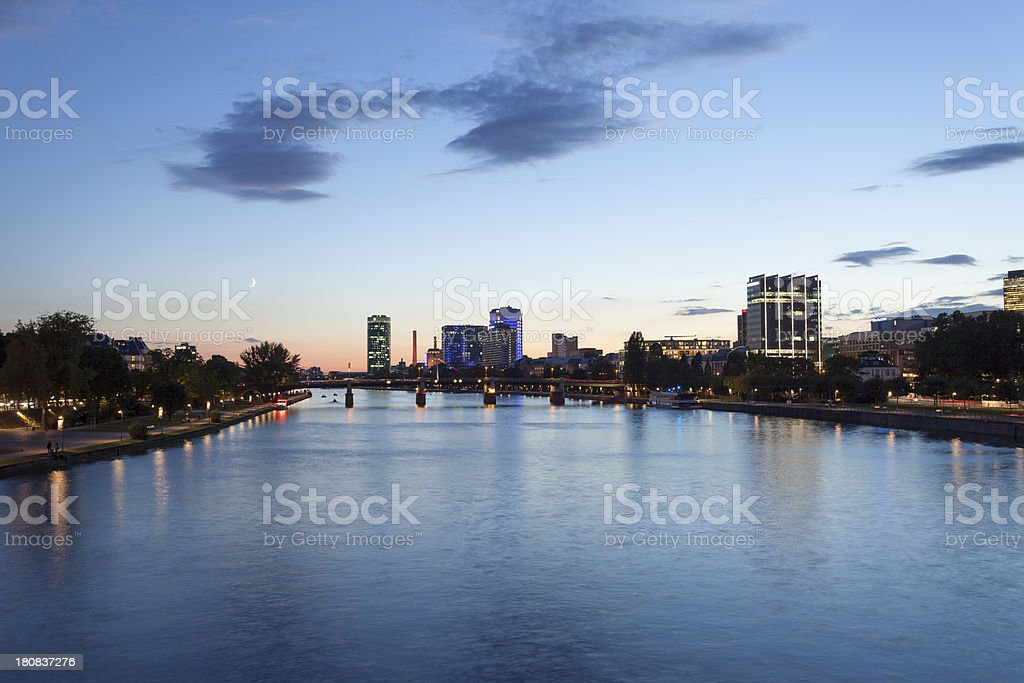 Frankfurt skyline with the river Main at dusk royalty-free stock photo