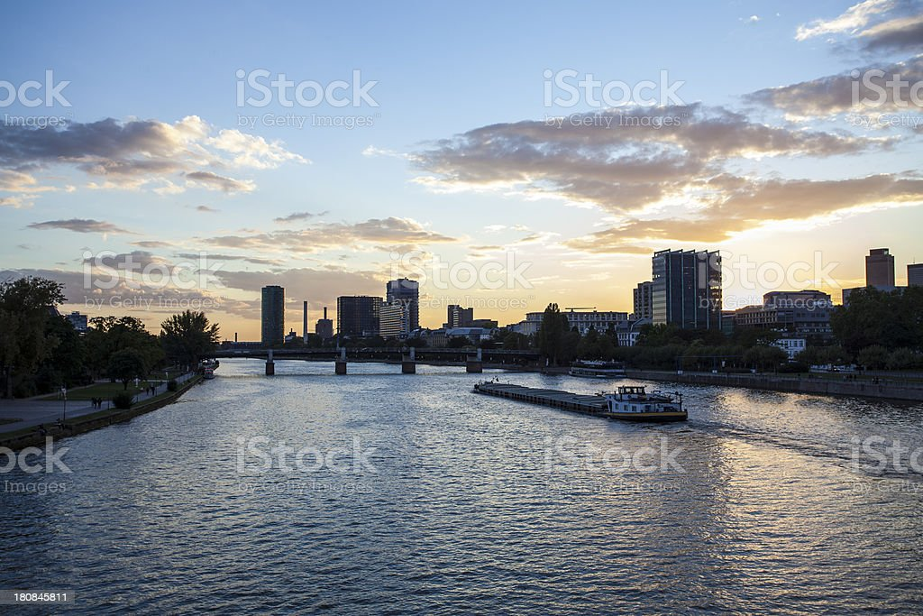 Frankfurt skyline with the river Main at dusk royalty-free stock photo
