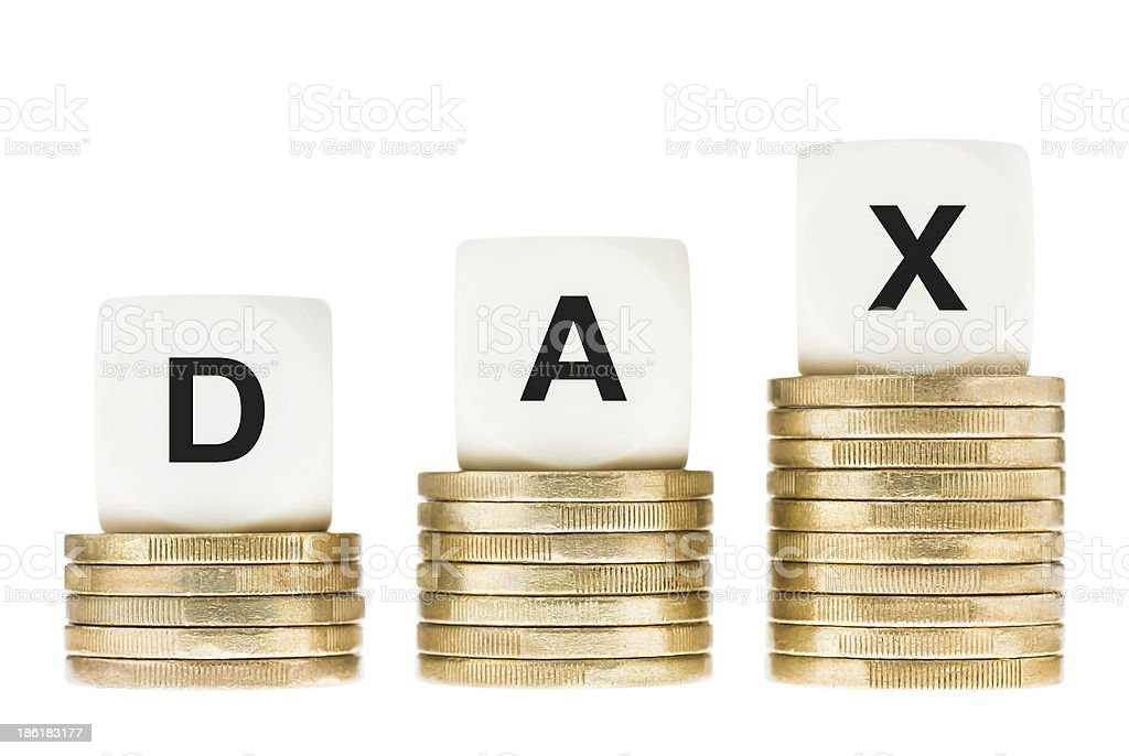 DAX Frankfurt Stock Exchange Share Index on Coin Stacks stock photo