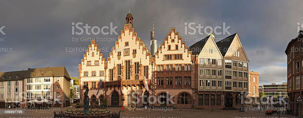 Frankfurt sunrise in Romerberg Square panorama Germany stock photo