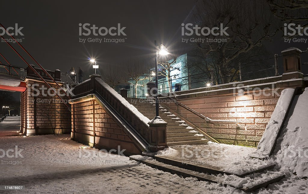 Frankfurt,Holbeinsteg, Skyline, Winter, Germany. stock photo