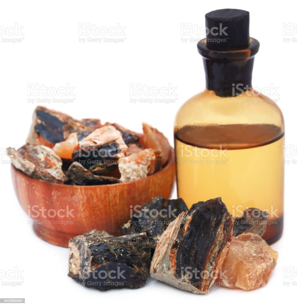 Frankincense dhoop with essential oil stock photo