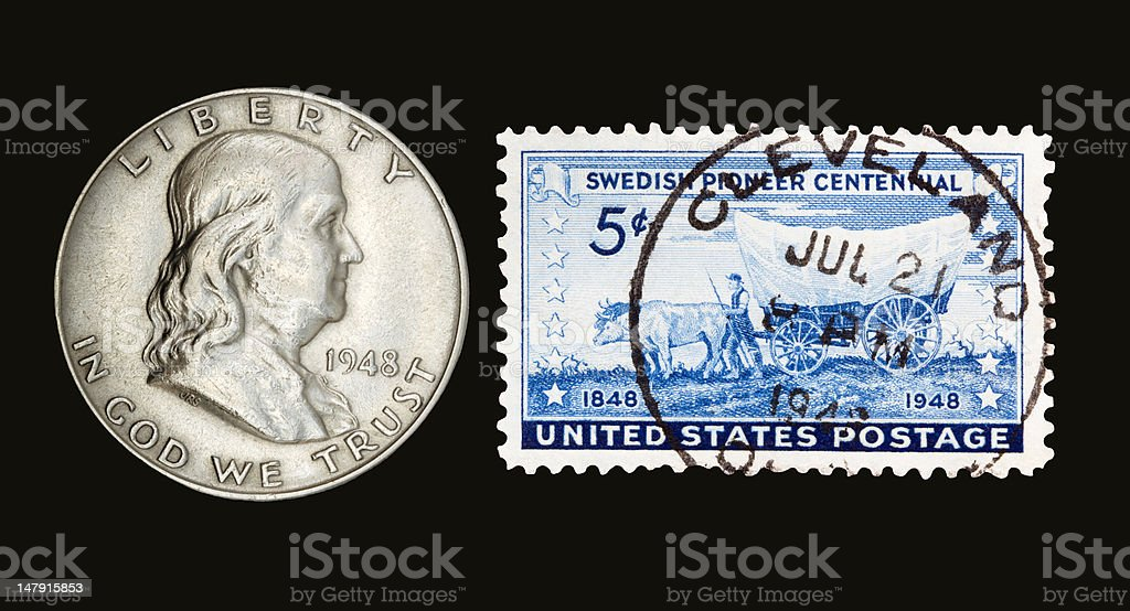 Franklin and Stamp 1948 stock photo