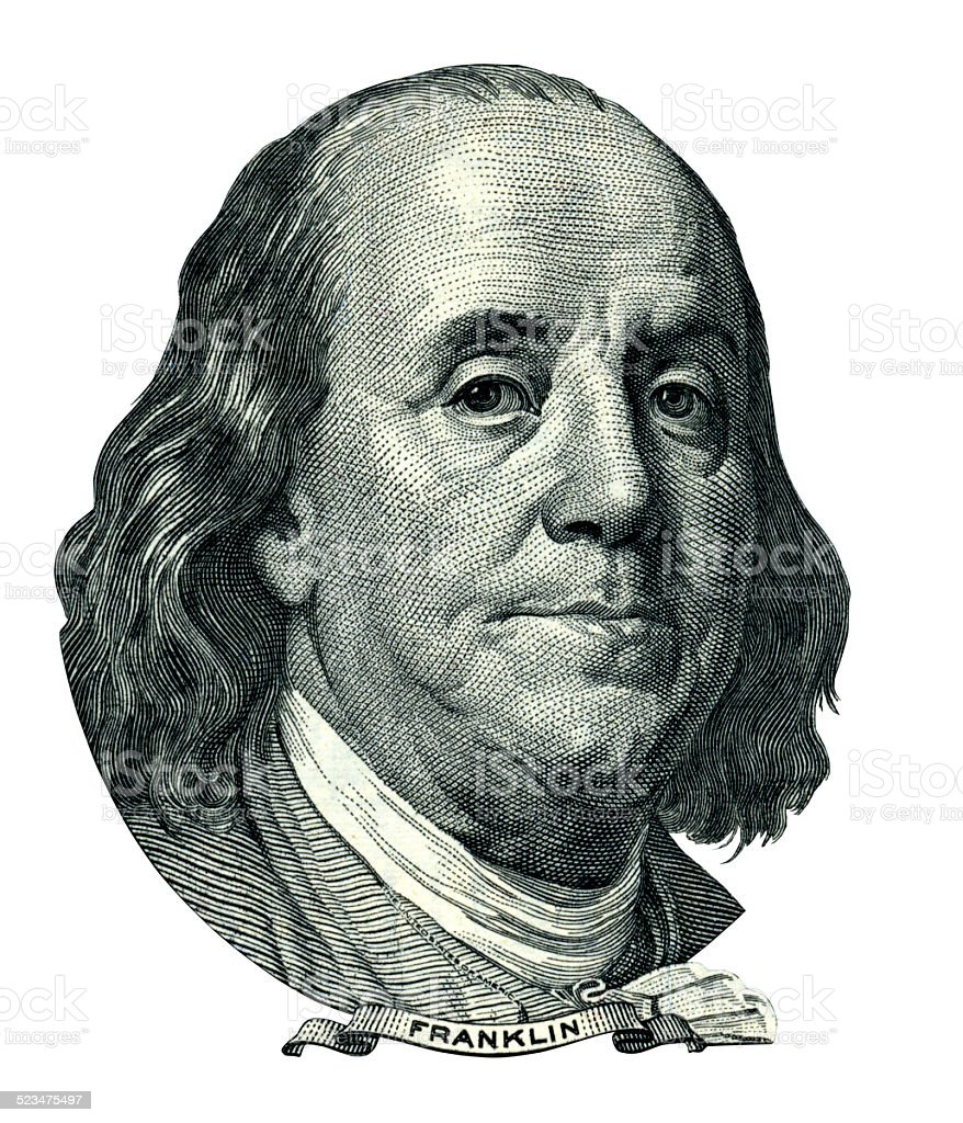 Franklin Benjamin portrait cutout (Clipping path) stock photo