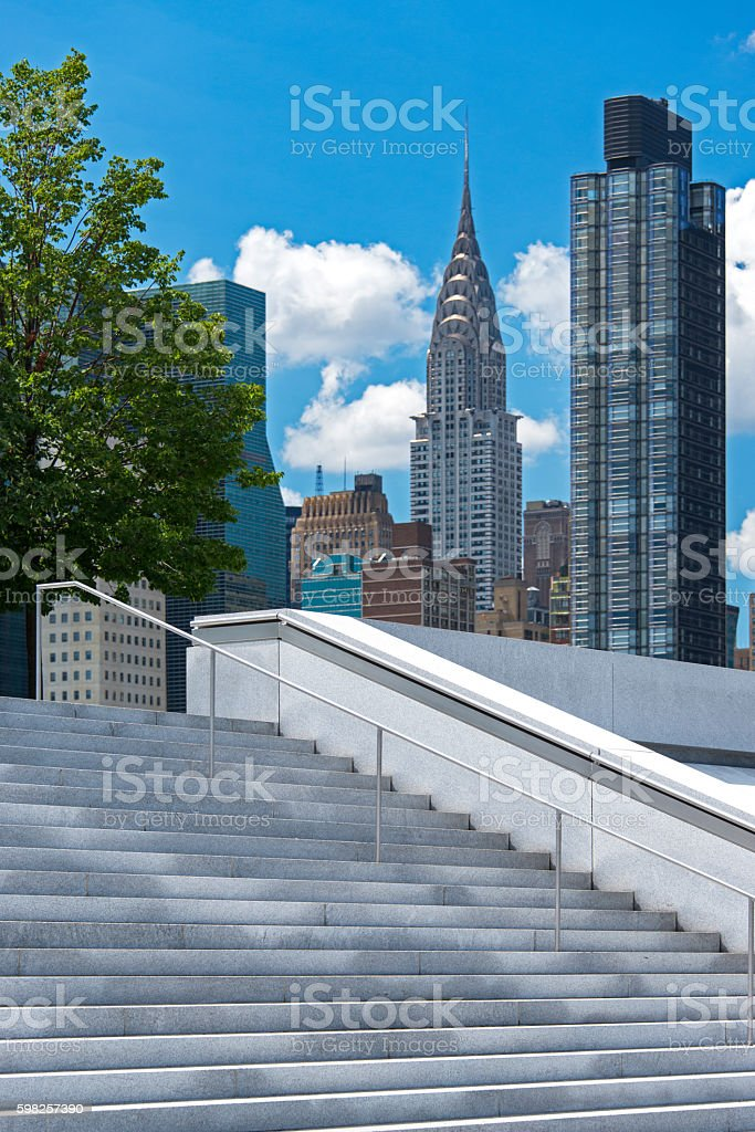 Franklin D. Roosevelt Four Freedoms Park and Chrysler Building stock photo