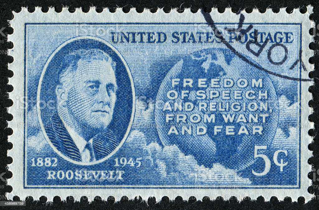 Franklin Delano Roosevelt Stamp royalty-free stock photo
