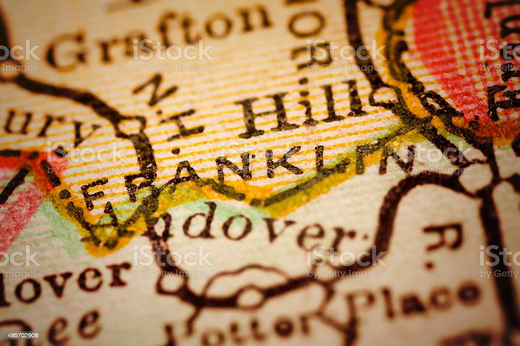 Franklin, New Hampshire on an Antique map stock photo