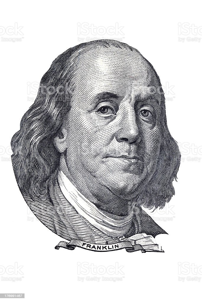 Franklin portrait of $100 banknote. stock photo