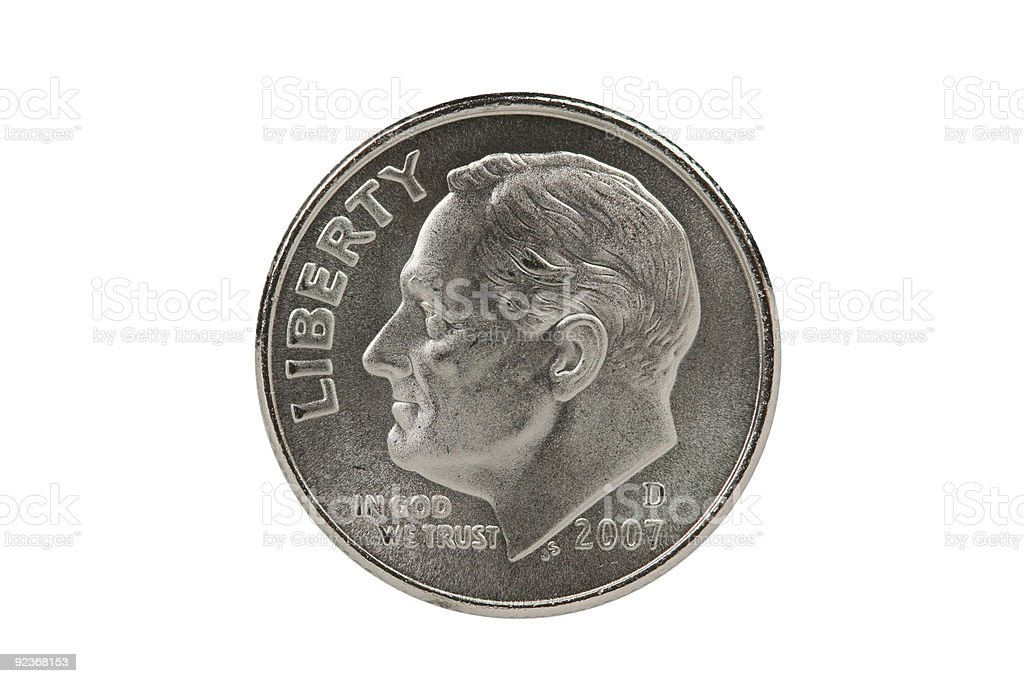 Franklin Roosevelt dime coin with clipping path stock photo