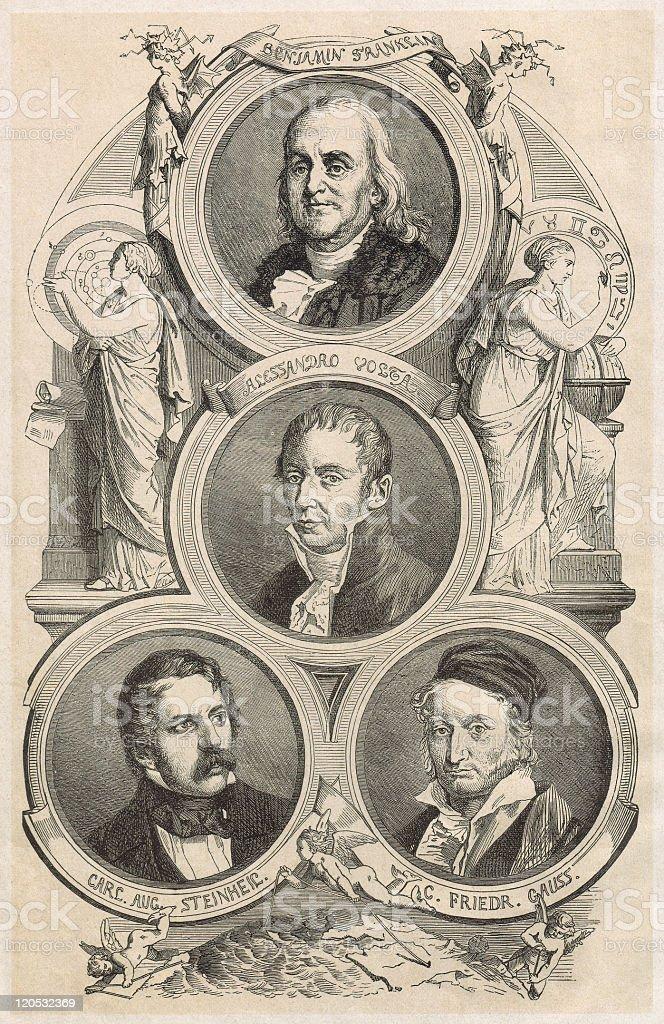 Franklin, Volta, Steinheil, Gauß, published in 1877 stock photo