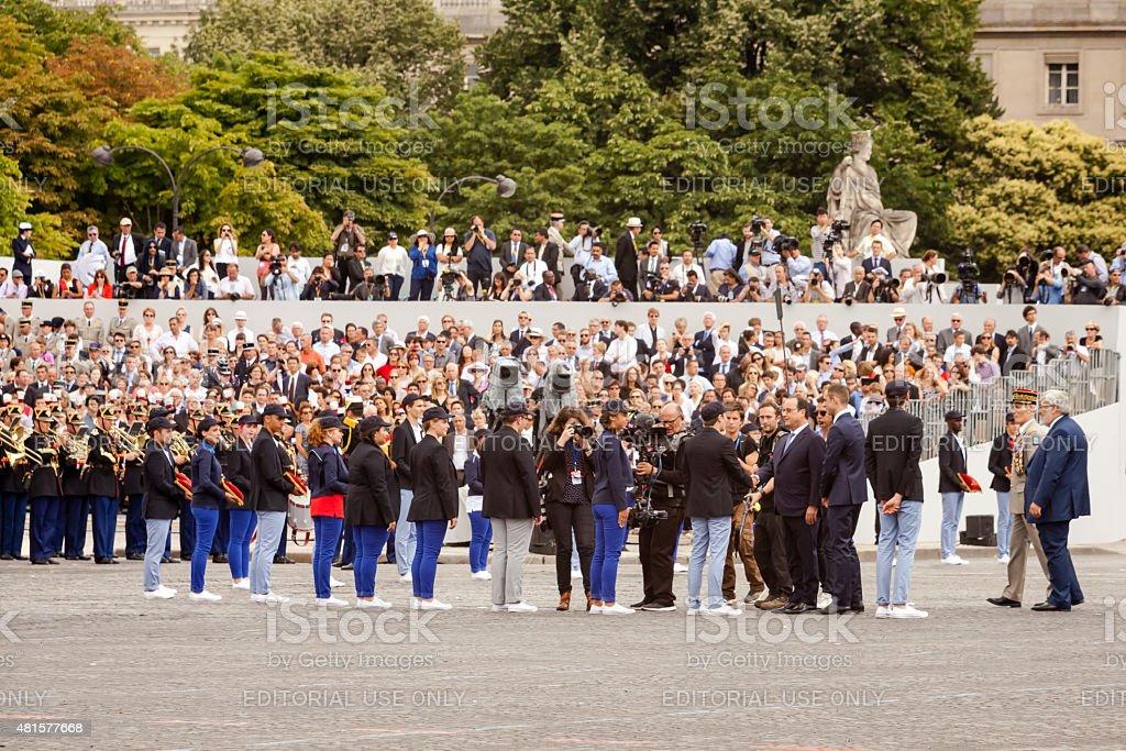 Fran?ois Hollande at Bastille Day stock photo