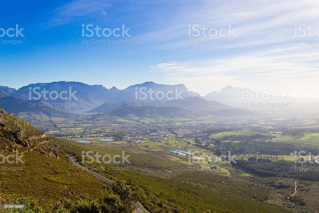 Franschhoek vineyard landscape, South africa panorama stock photo
