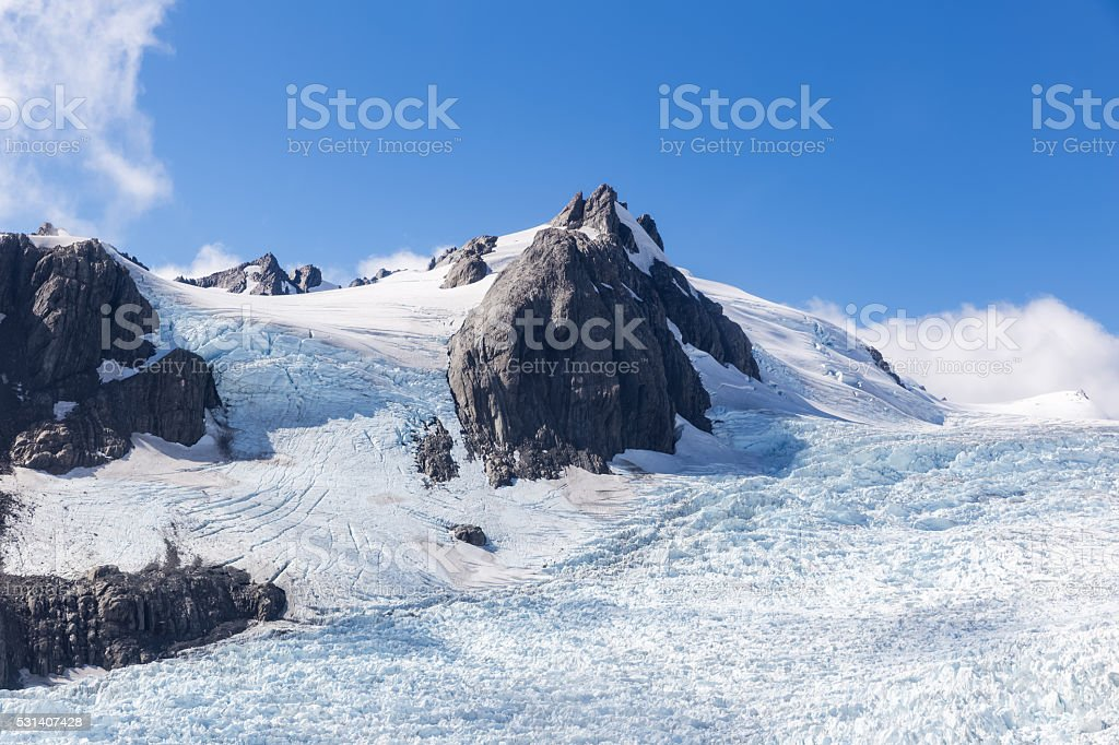 Franz Josef glacier at top view stock photo