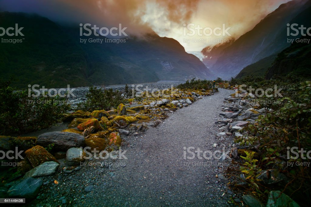 franz josef glacier important traveler destination in south island new zealand stock photo