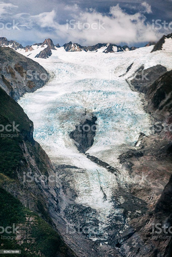 Franz Josef Glacier in the Southern Alps, New Zealand stock photo