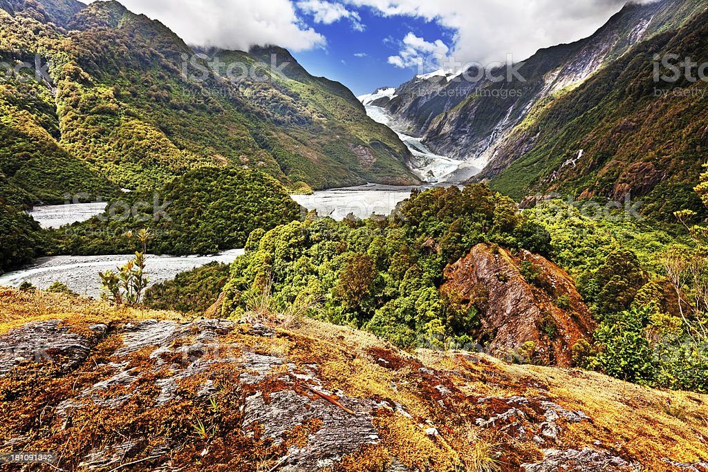 Franz Josef Glacier Valley in New Zealand stock photo
