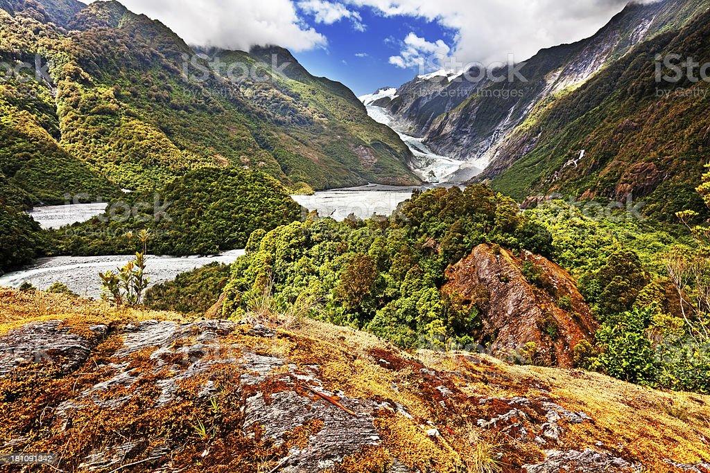 Franz Josef Glacier Valley in New Zealand stock photo