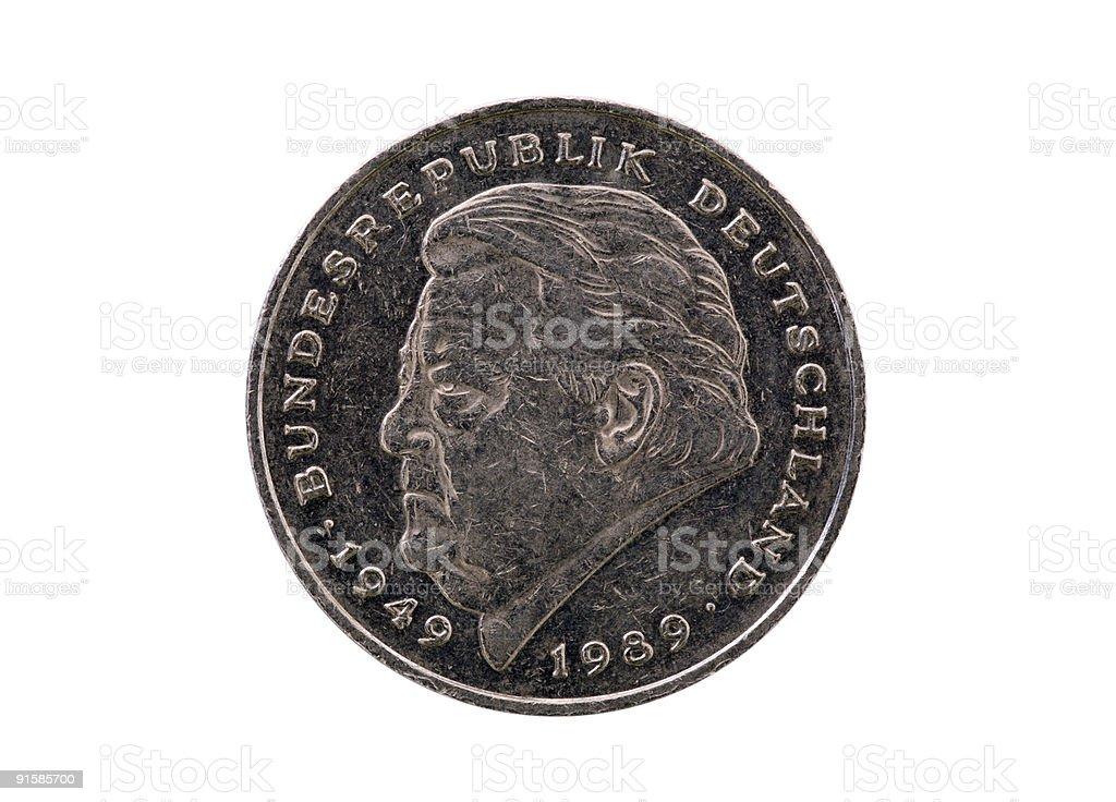 Franz Josef Strauss on coin  (XL) royalty-free stock photo