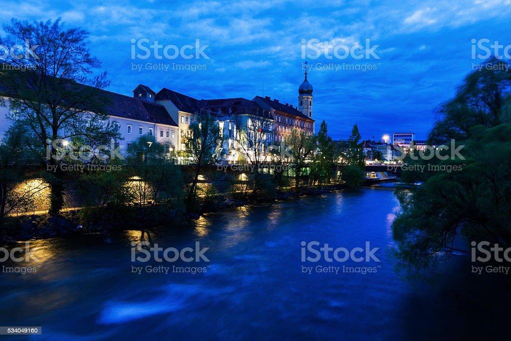 Franziskanerkirche by Mur River stock photo