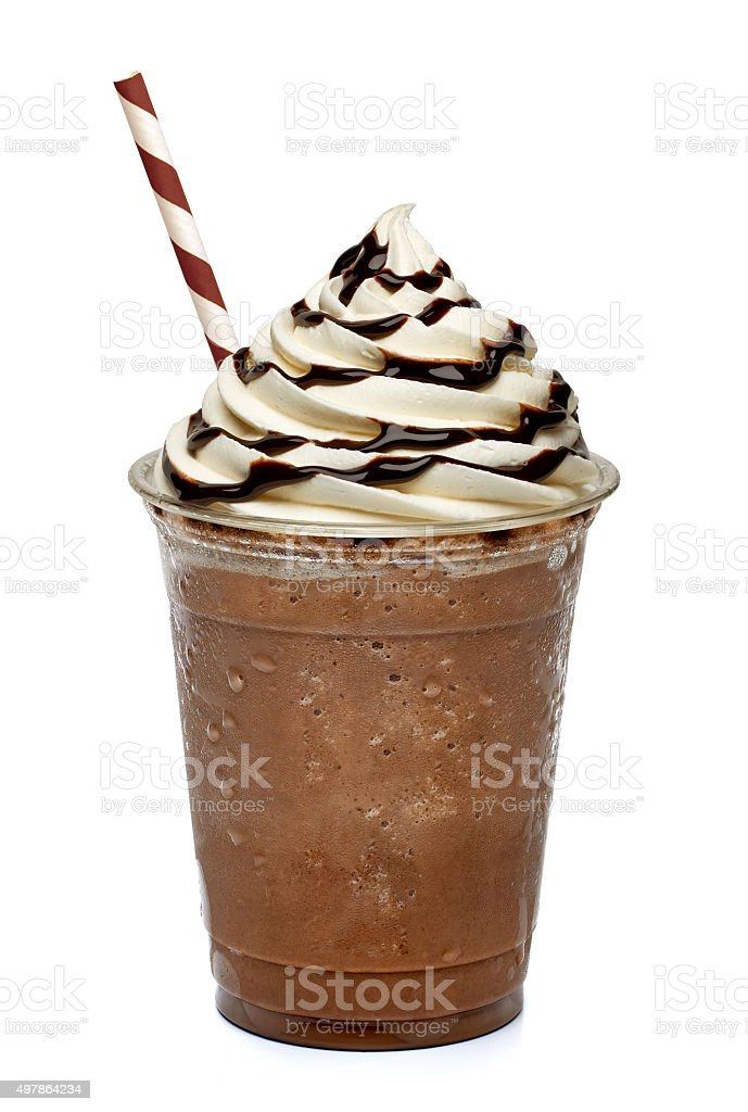 Frappuccino in take away cup stock photo