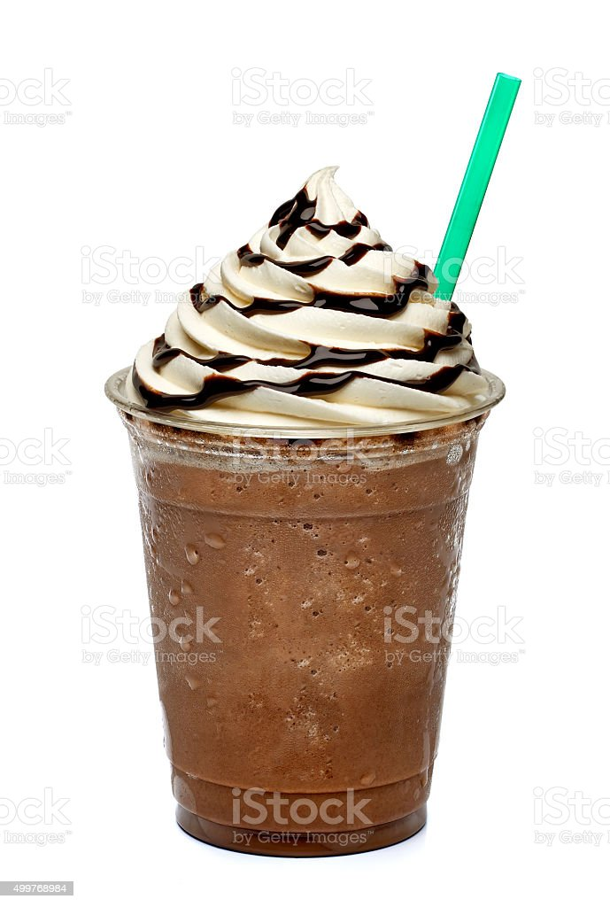Frappuccino in takeaway cup stock photo